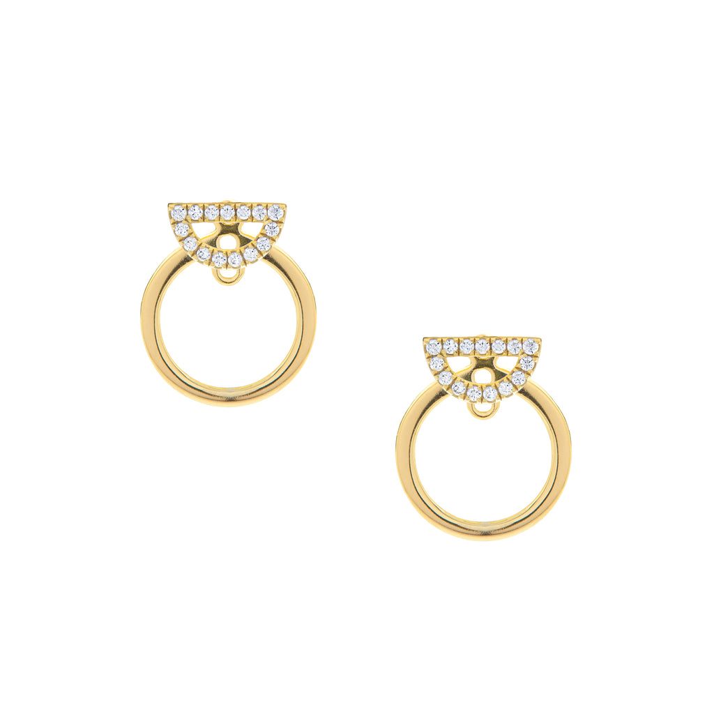 Round Pavé Accent Earrings
