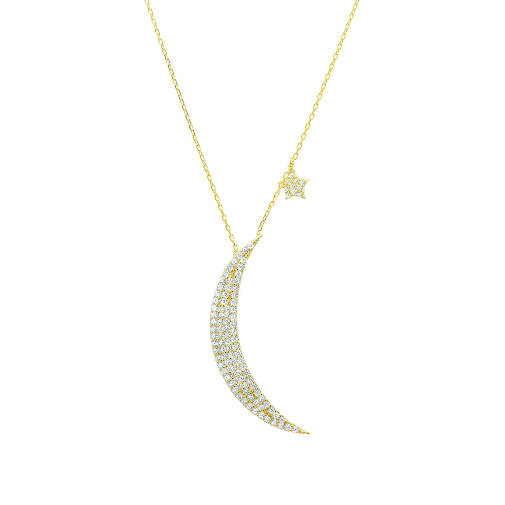 Moon and Stars Pavé Necklace