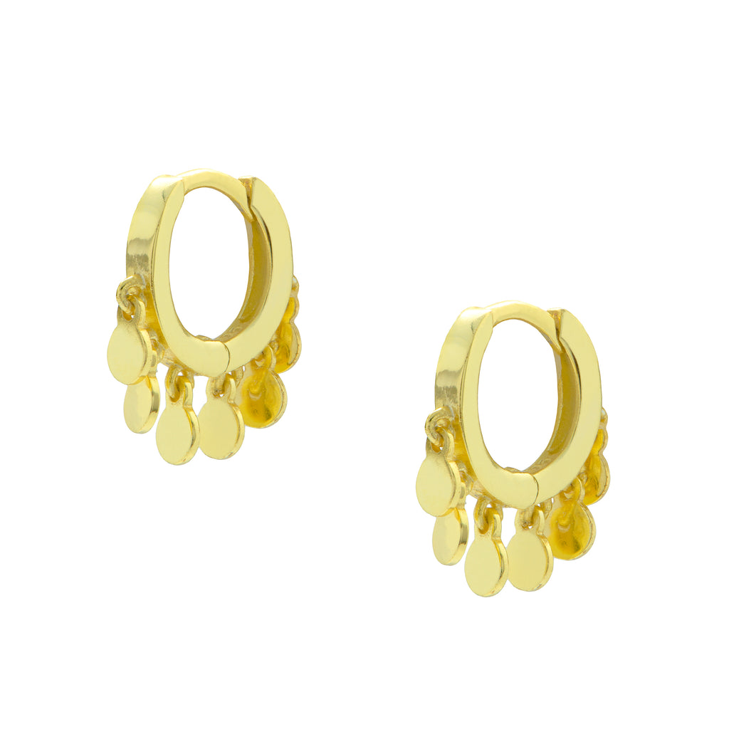 Gold Disc Huggie Earrings