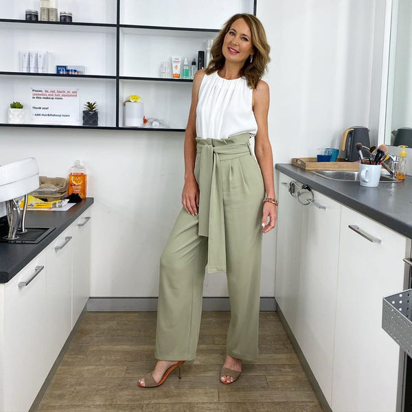 alison business coach relaunched_alison MsHEM muse wearing spotted in Mint Giselle blazer Giselle Paperbag Waist Belted Pants Sydney Australia TV open shop australia