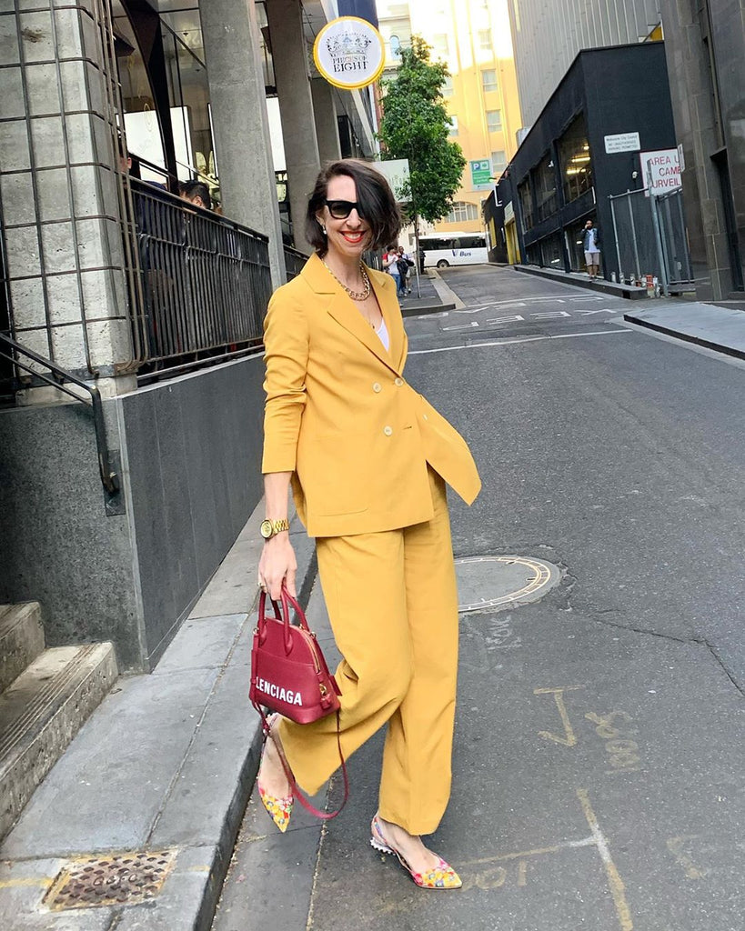 mshem mustard Genevieve blazer paperbag waist pants be your own muse mshem muse sally Melbourne stylist styledbysally