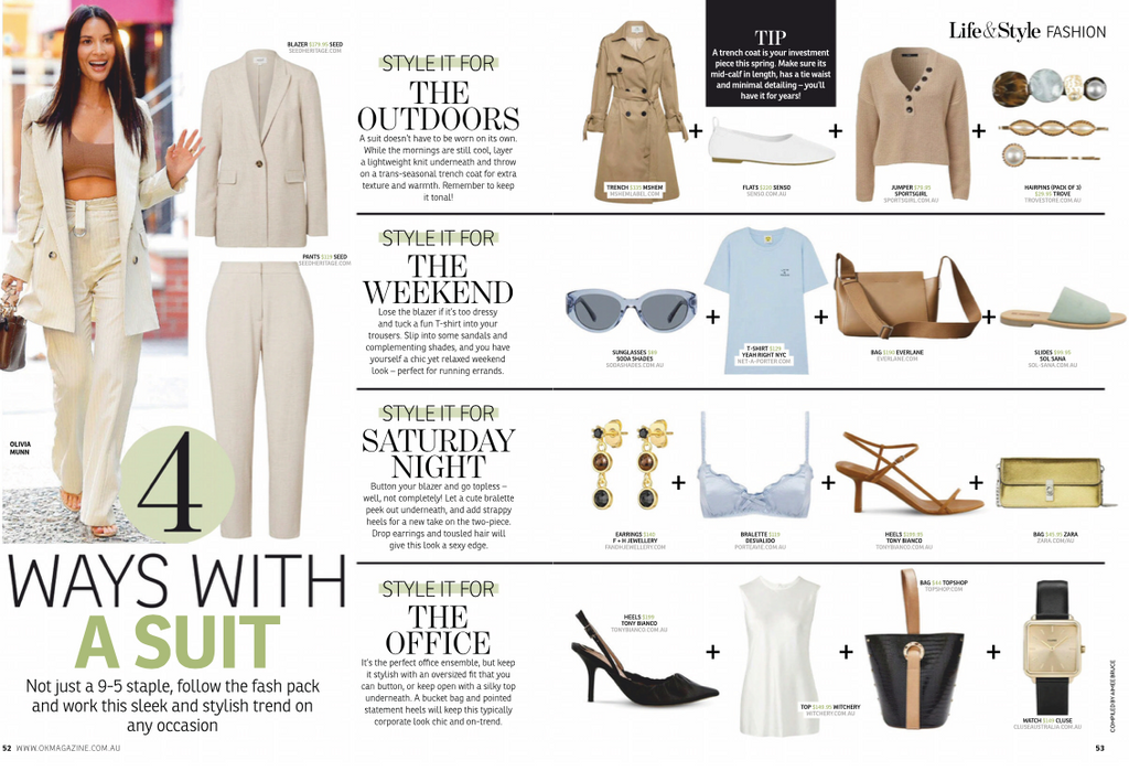 who magazine article MsHEM laura trench coat styling suits 4 ways