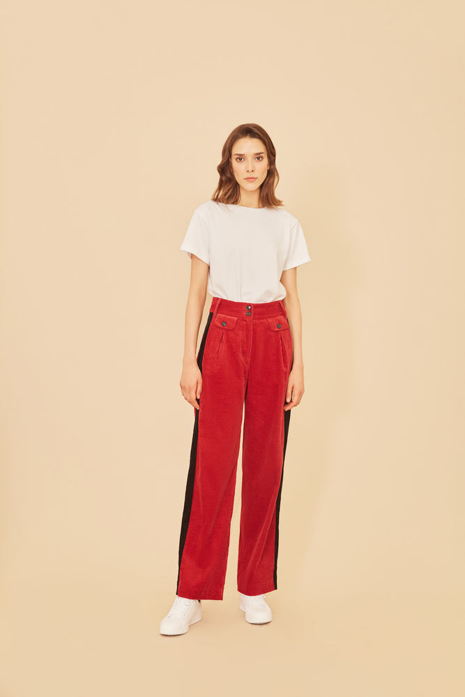 Red Corduroy Stripe Pants - MsHEM women clothing
