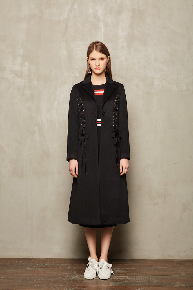 Black Lace Up Full Length Coat