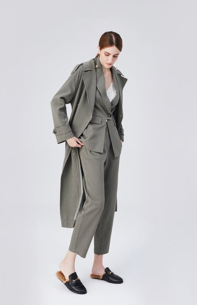 Blair Belted Trench Coat - Olive Green - MsHEM women clothing