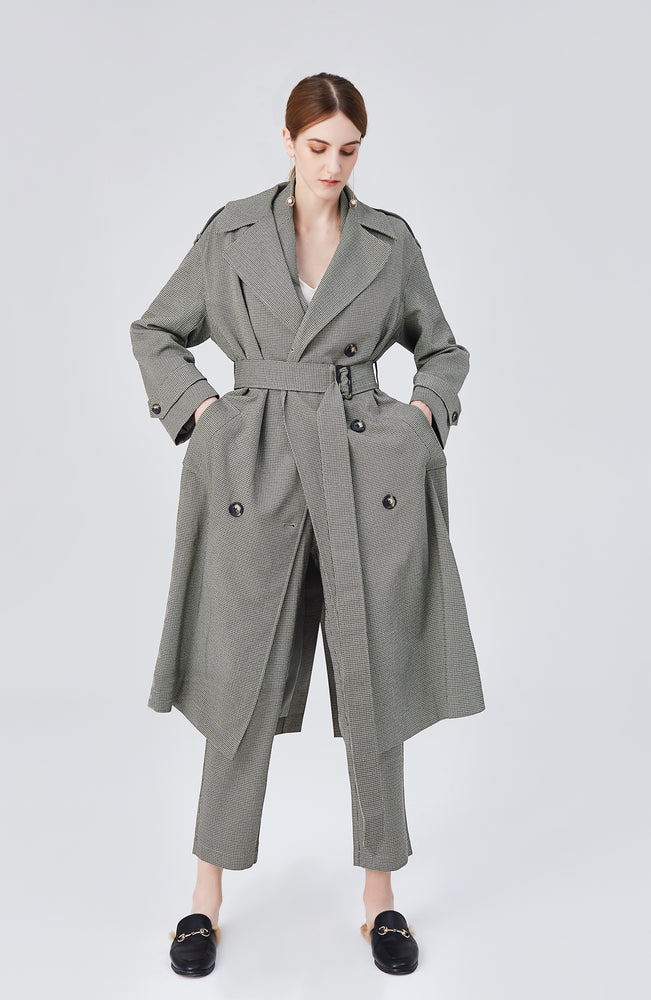 Blair Belted Trench Coat - Olive Green