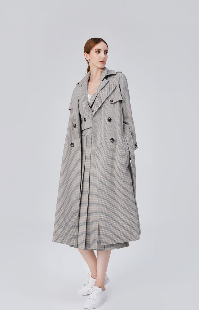 Blair Belted Trench Coat - Grey Sand