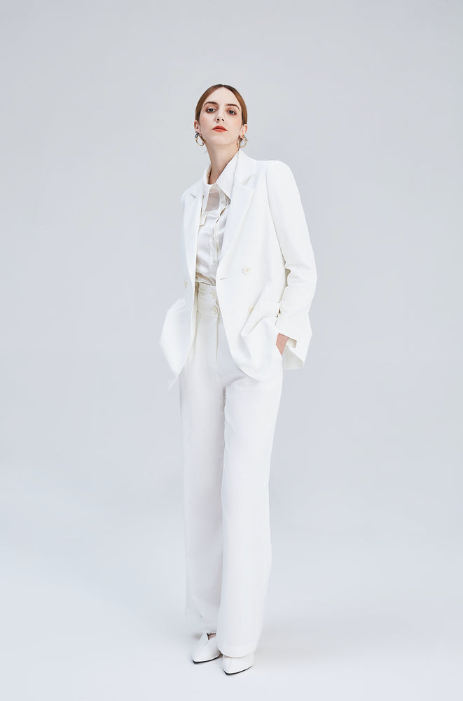 White Genevieve Paperbag Waist Pants - MsHEM women clothing