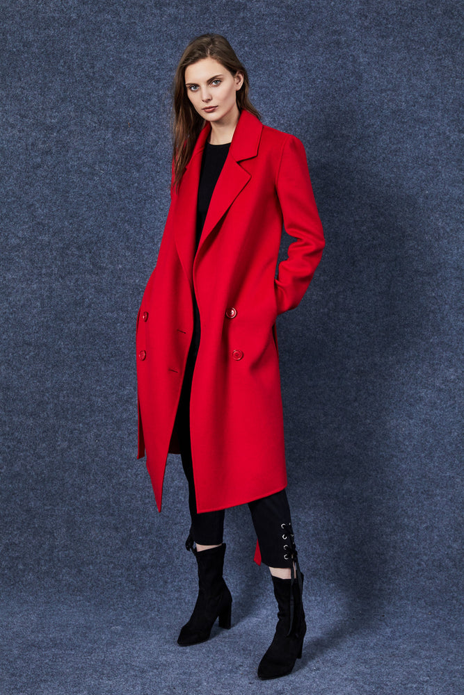 Red Full Length Coat - MsHEM women clothing