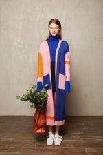 Colour Block Full Length Cardigan