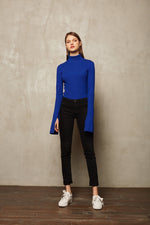 Blue Long Sleeve Turtle Neck Sweatshirt