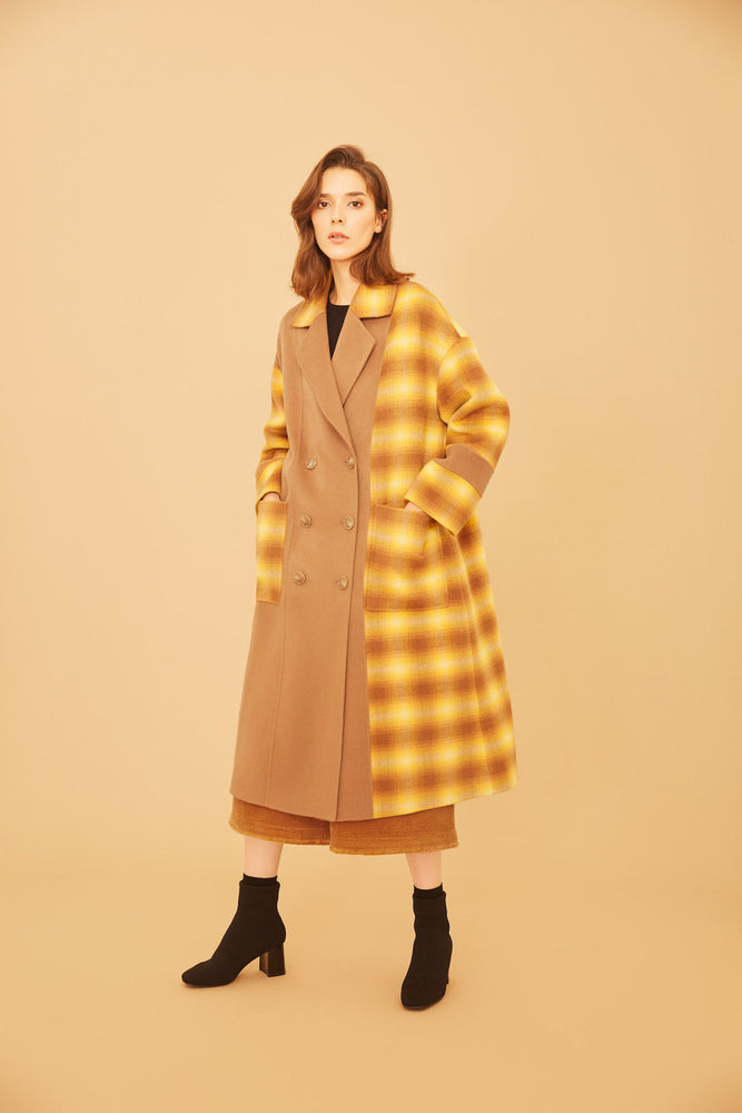 Yellow Gingham Full Length Camel Coat