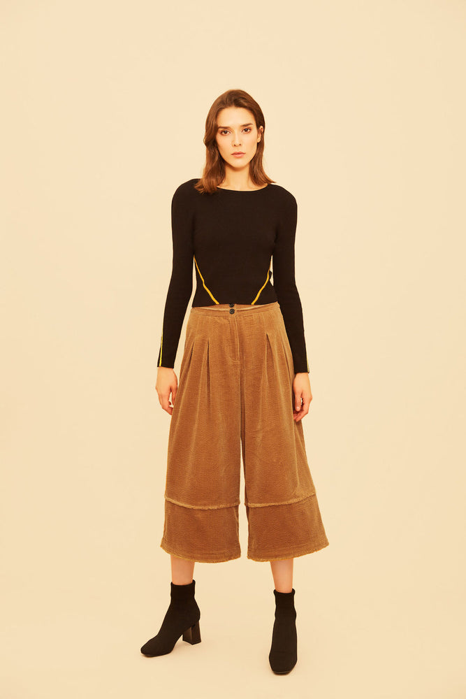 Toffee Corduroy Culottes - MsHEM women clothing