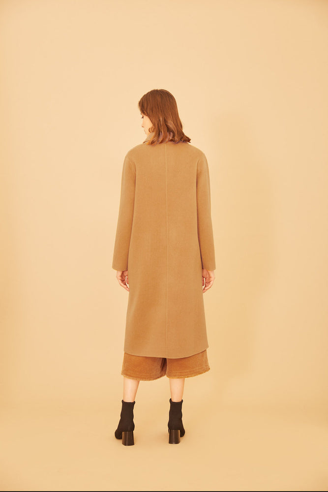 Gingham Pocket Full Length Camel Coat - MsHEM women clothing