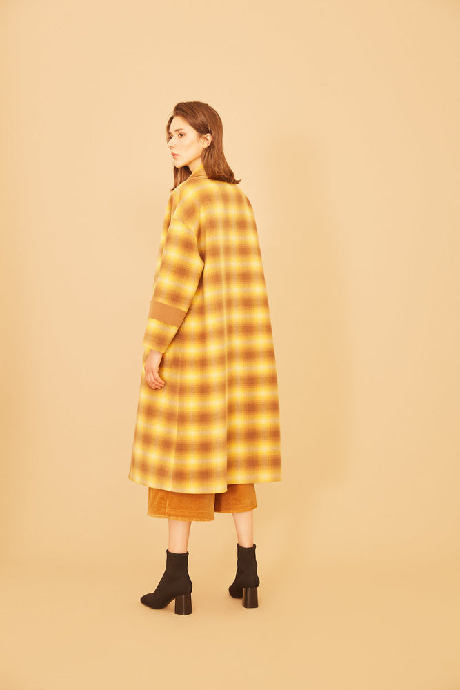 Yellow Gingham Full Length Camel Coat - MsHEM women clothing