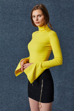 Yellow Long Sleeve Turtle Neck Sweatshirt - MsHEM women clothing