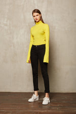 Yellow Long Sleeve Turtle Neck Sweatshirt