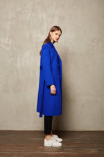 Blue Full Length Coat - MsHEM women clothing