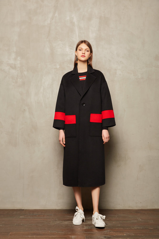 Red Stripe Full Length Coat - MsHEM women clothing