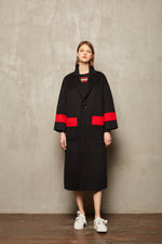 Red Stripe Full Length Coat