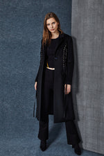 Black Lace Up Full Length Coat - MsHEM women clothing