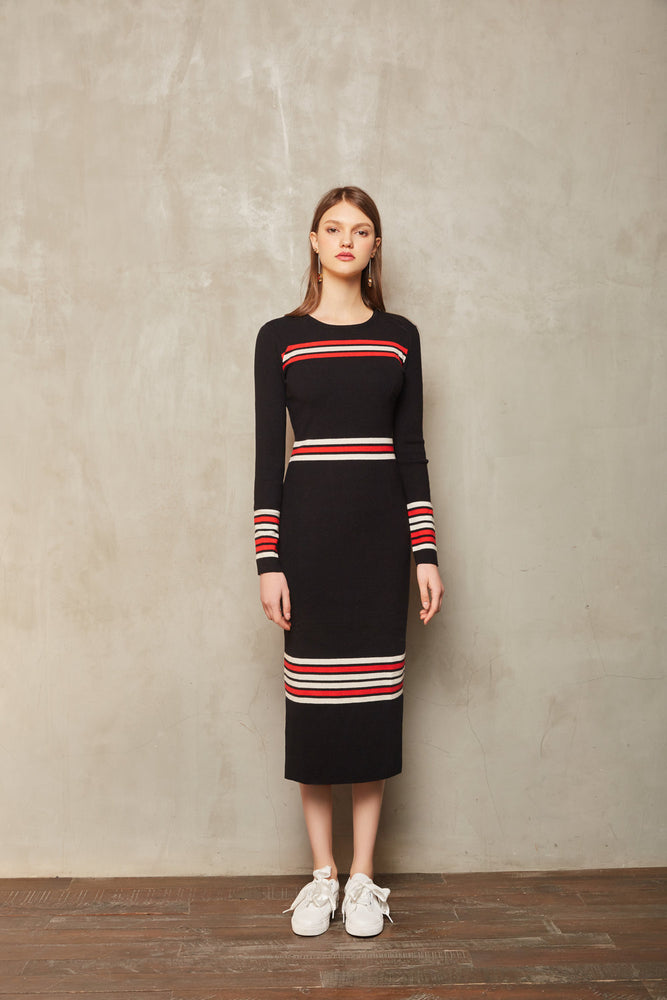 Stripe Knit Dress - MsHEM women clothing