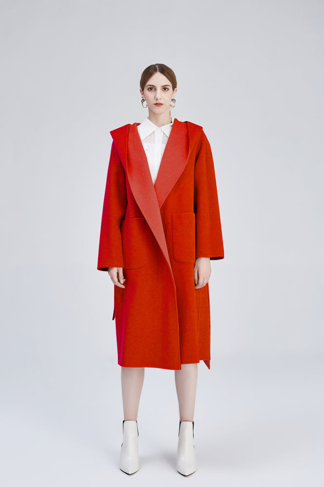 Red Amelia Reversible Oversized Wool Coat
