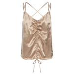 Stella Champagne Ruched Top - MsHEM women clothing