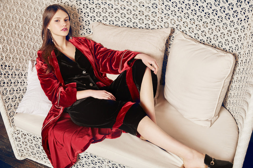 Laila Silk Velvet Blazer - MsHEM women clothing