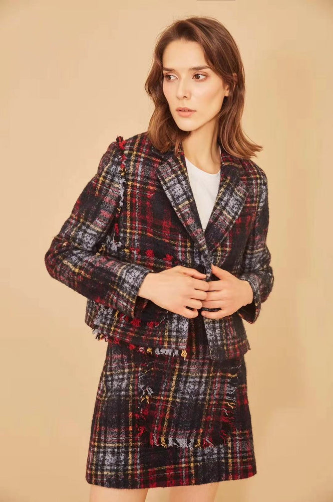 Tartan Tweed Blazer - MsHEM women clothing