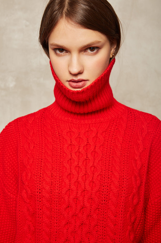 Red Knit Sweater - MsHEM women clothing