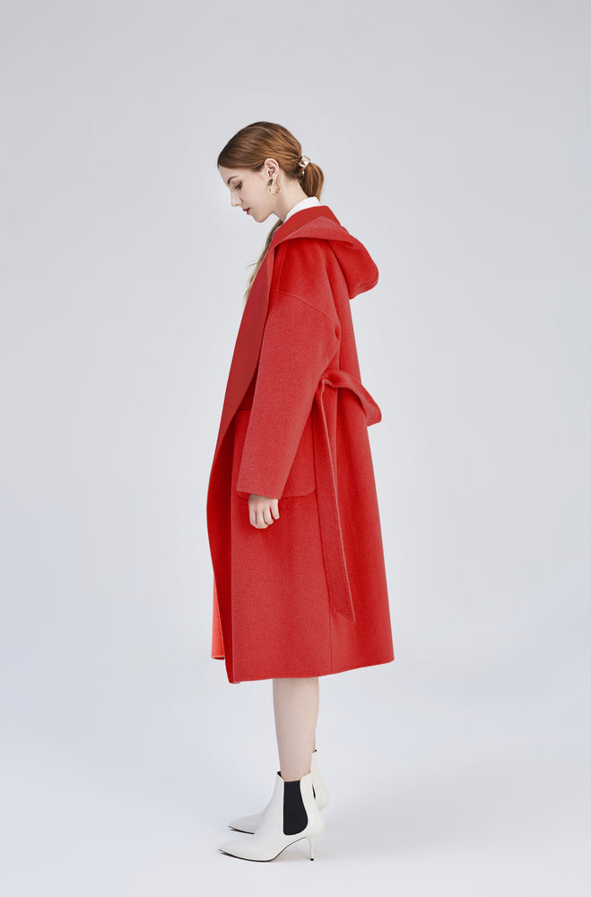 Red Amelia Reversible Oversized Wool Coat - MsHEM women clothing