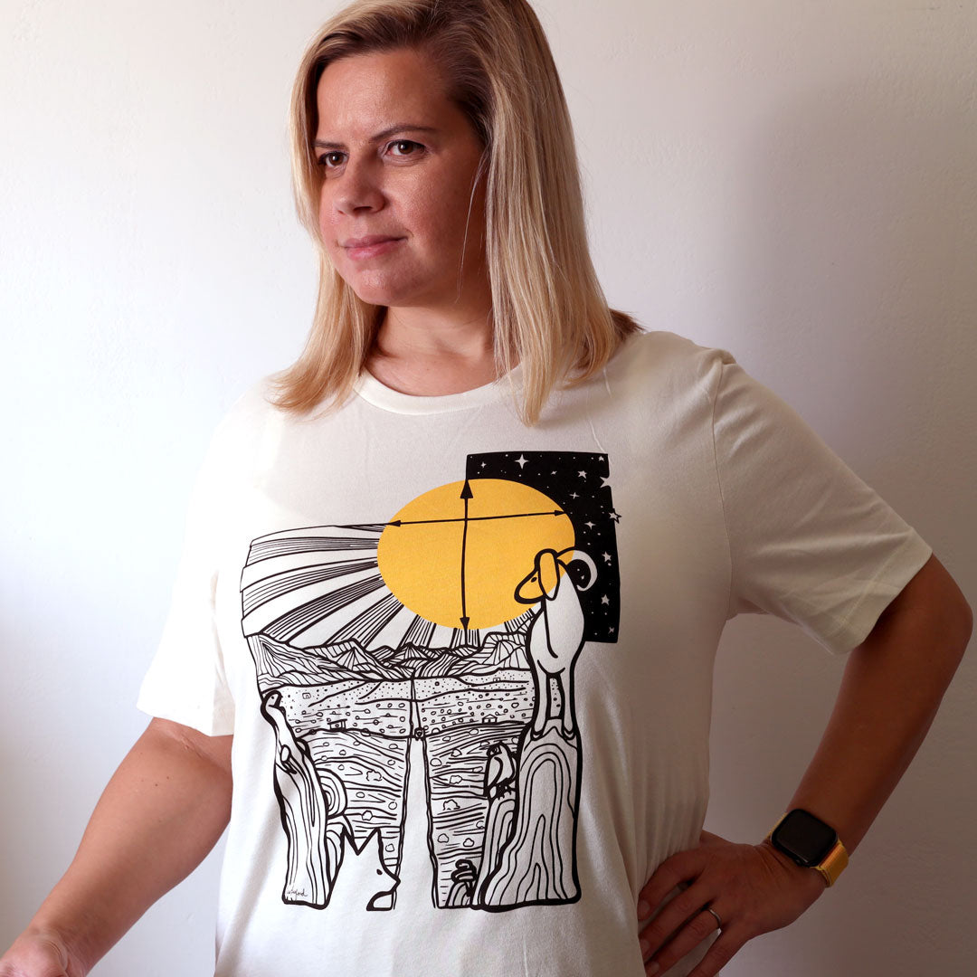Woman wearing Safe Travels Desert Shirt in Natural