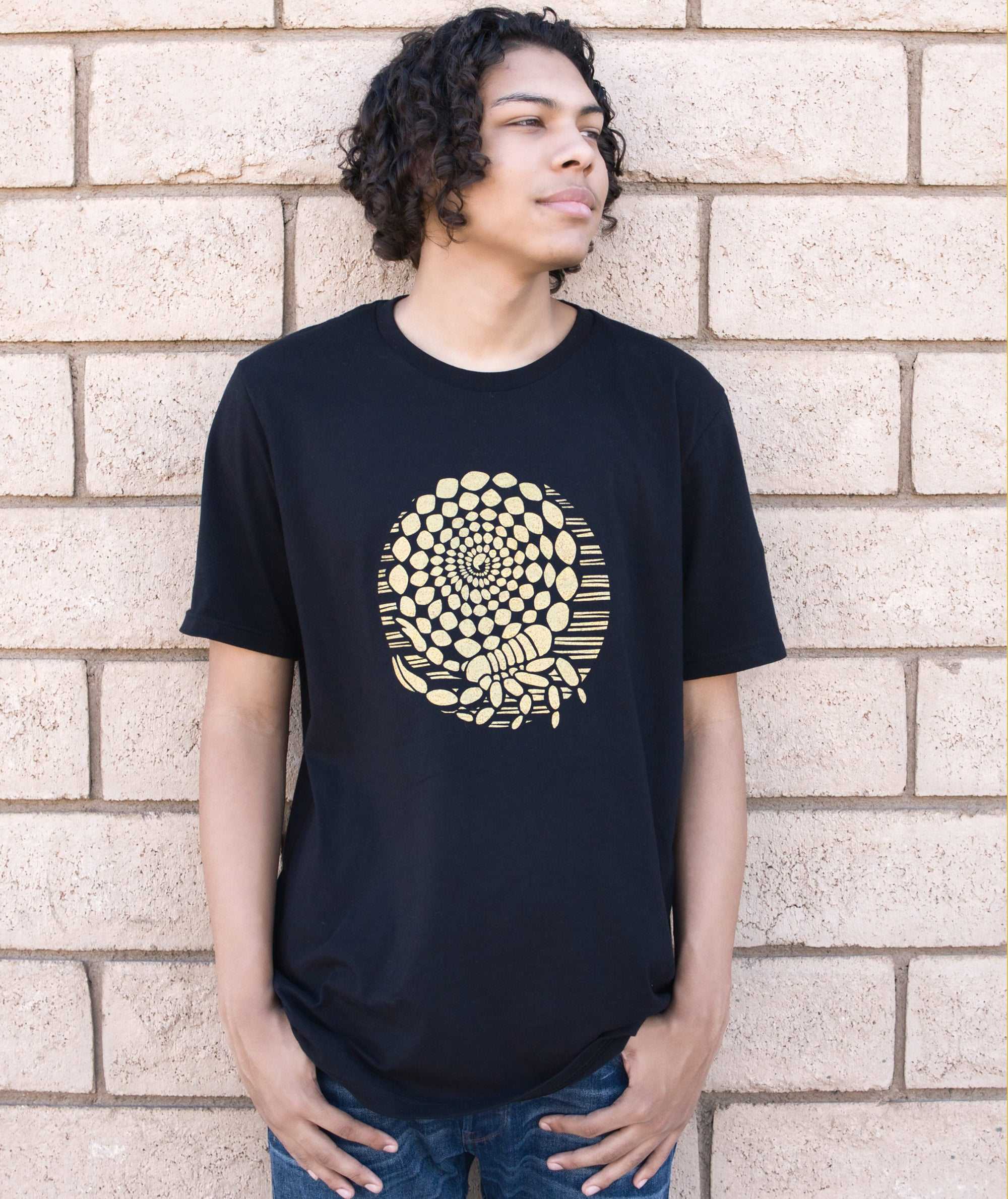 Desert Gold Scorpion T-shirt in Black Modeled by Andrew Clark