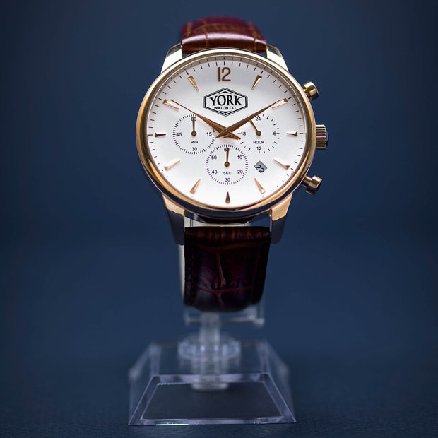 The Chrono Executive Rose Gold & White
