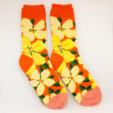 Burnt Orange And Pink Flower Women's Socks