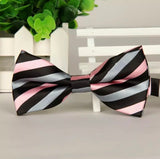 Men's adjustable bow tie black-gray-pink stripe