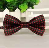 Men's adjustable bow tie black with red polka dots