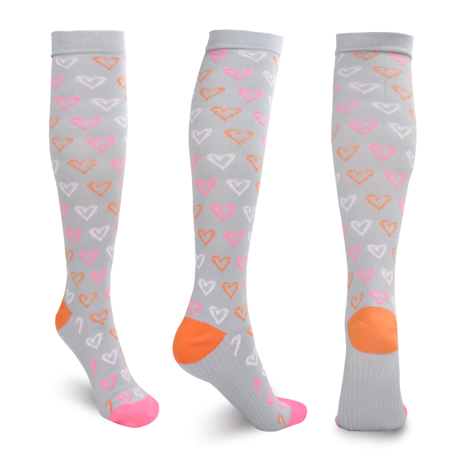 Hearts On Gray Compression Socks - Kit Carson Accessories