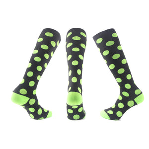 Black With Green Dots Compression Socks - Kit Carson Accessories