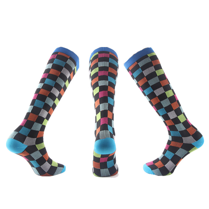Unisex Colorful Squares Compression Socks - Kit Carson Accessories