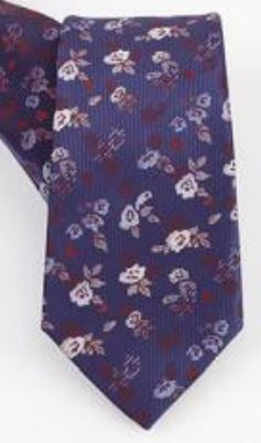 Blue Flowers Silk Tie - Kit Carson Accessories