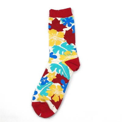 Multi Leaves Socks Red-white - Kit Carson Accessories