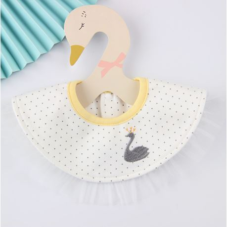 Baby Bib, Swan on White Pattern with Yellow collar - Kit Carson Accessories