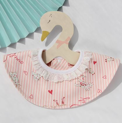 Baby Bib, Pink with Hearts - Kit Carson Accessories