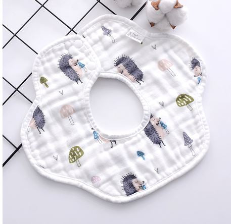 Baby Drool Bib, Roundabout Pattern, White with Hedgehogs, 360 Degree design - Kit Carson Accessories