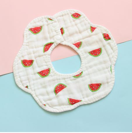 Baby drool Bib, Roundabout design, White with Watermelon Slices, 360 Design - Kit Carson Accessories
