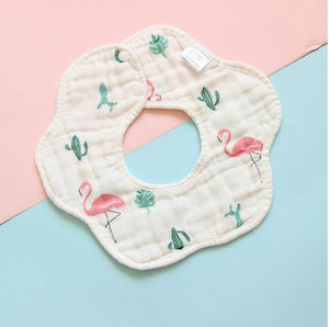 Baby Roundabout teething and drool Bib,  White with Flamingos dancing, 360 Design - Kit Carson Accessories
