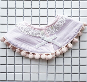 Baby Bib, Lavender with Lace and Ribbon and PomPoms - Kit Carson Accessories