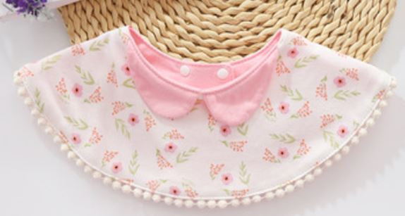 Baby Bib. Pink Flowers on White with Trim - Kit Carson Accessories